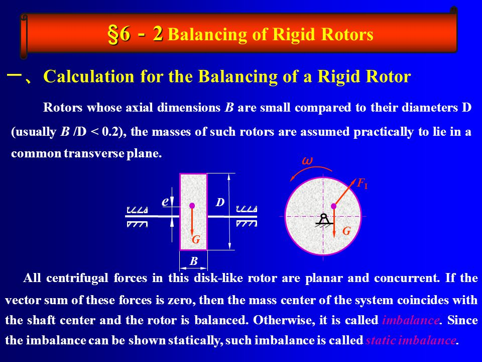 Rotors whose axial dimensions B are small compared to their diameters D (usually B /D < 0.2), the masses of such rotors are assumed practically to lie in a common transverse plane.
