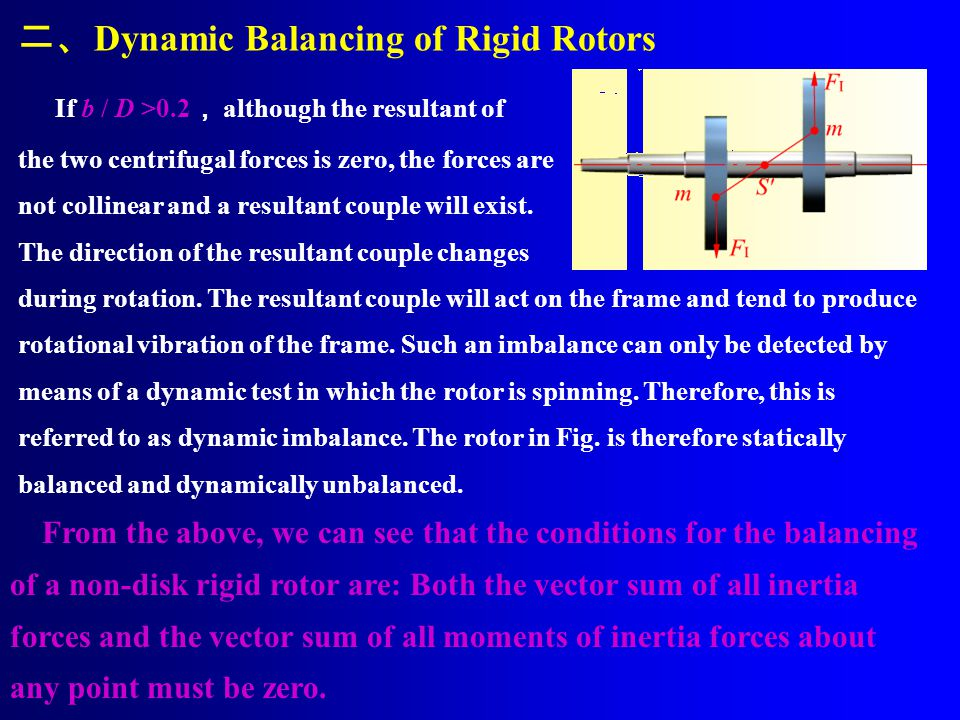 If b / D >0.2 , although the resultant of the two centrifugal forces is zero, the forces are not collinear and a resultant couple will exist.