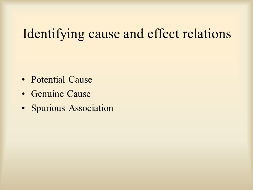 Identifying cause and effect relations Potential Cause Genuine Cause Spurious Association