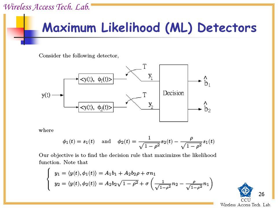 Wireless Access Tech. Lab. CCU Wireless Access Tech. Lab. 26 Maximum Likelihood (ML) Detectors