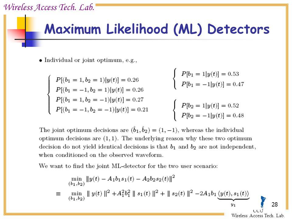 Wireless Access Tech. Lab. CCU Wireless Access Tech. Lab. 28 Maximum Likelihood (ML) Detectors