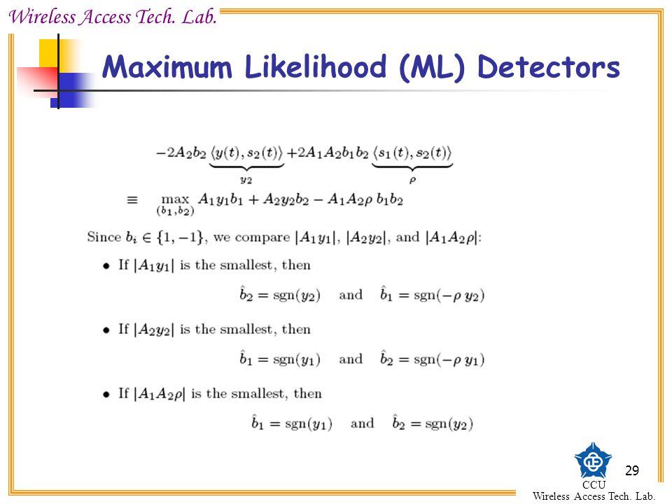 Wireless Access Tech. Lab. CCU Wireless Access Tech. Lab. 29 Maximum Likelihood (ML) Detectors