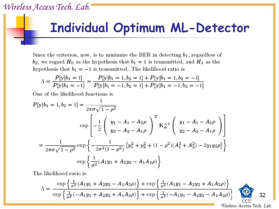 Wireless Access Tech. Lab. CCU Wireless Access Tech. Lab. 32 Individual Optimum ML-Detector