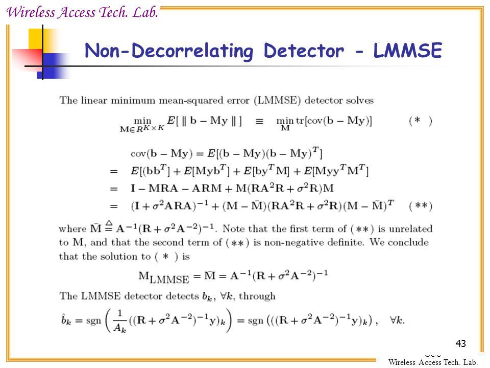 Wireless Access Tech. Lab. CCU Wireless Access Tech. Lab. 43 Non-Decorrelating Detector - LMMSE