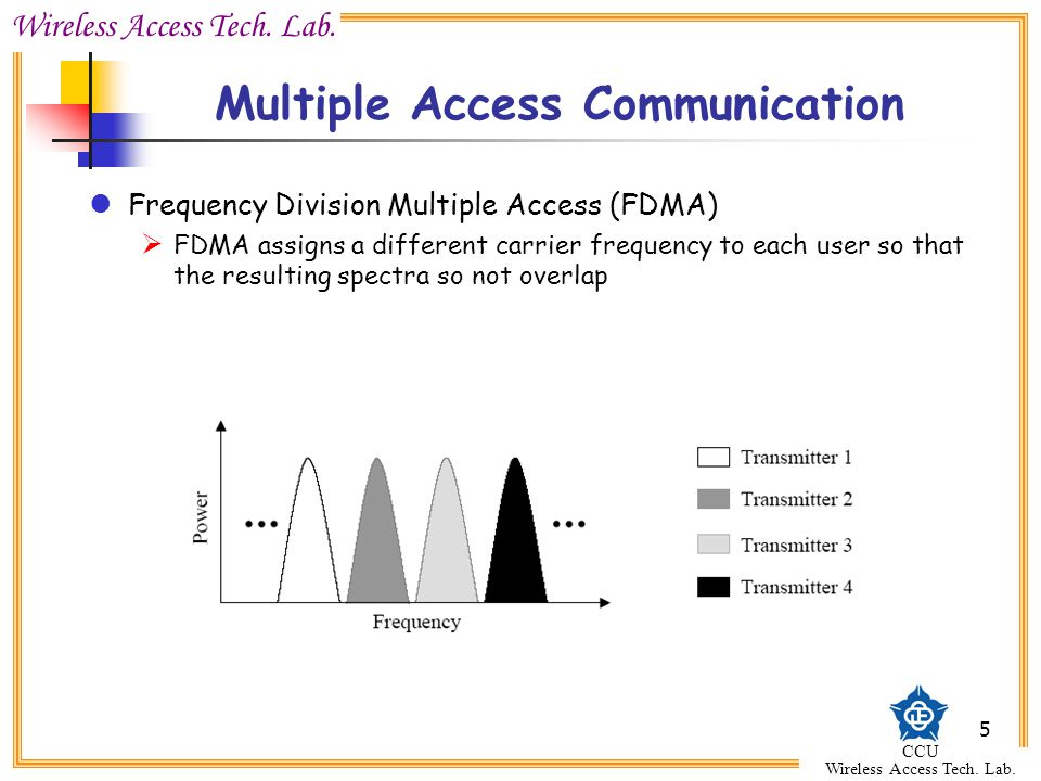 Wireless Access Tech. Lab. CCU Wireless Access Tech. Lab. 5 Multiple Access Communication Frequency Division Multiple Access (FDMA)  FDMA assigns a d