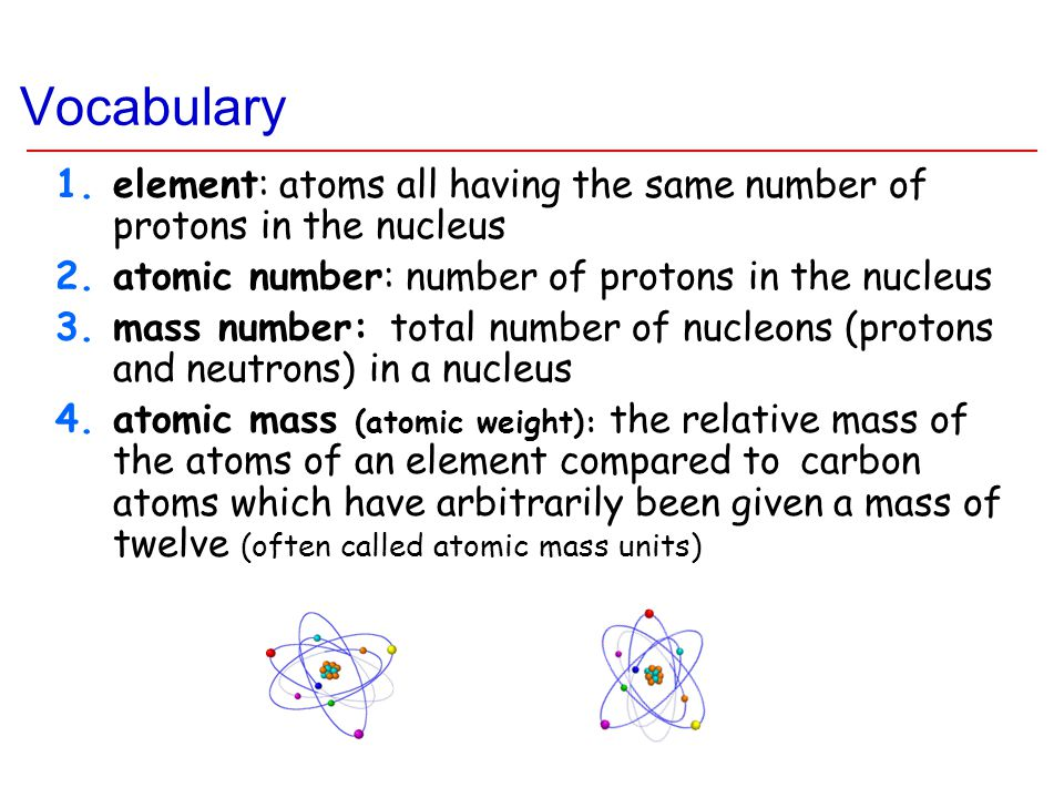 Vocabulary 1.element: atoms all having the same number of protons in the nucleus 2.atomic number: number of protons in the nucleus 3.mass number: tota