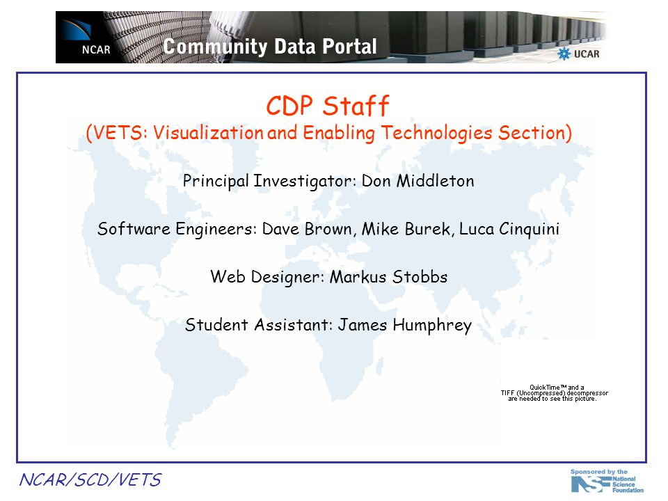 NCAR/SCD/VETS Outline Introduction Architecture Describe & demo current functionality:  Data catalog browsing  Data download  Data search & discovery  Data aggregation Future plans