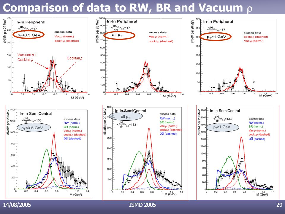 14/08/2005ISMD 200529 Comparison of data to RW, BR and Vacuum  Vacuum  Cocktail 
