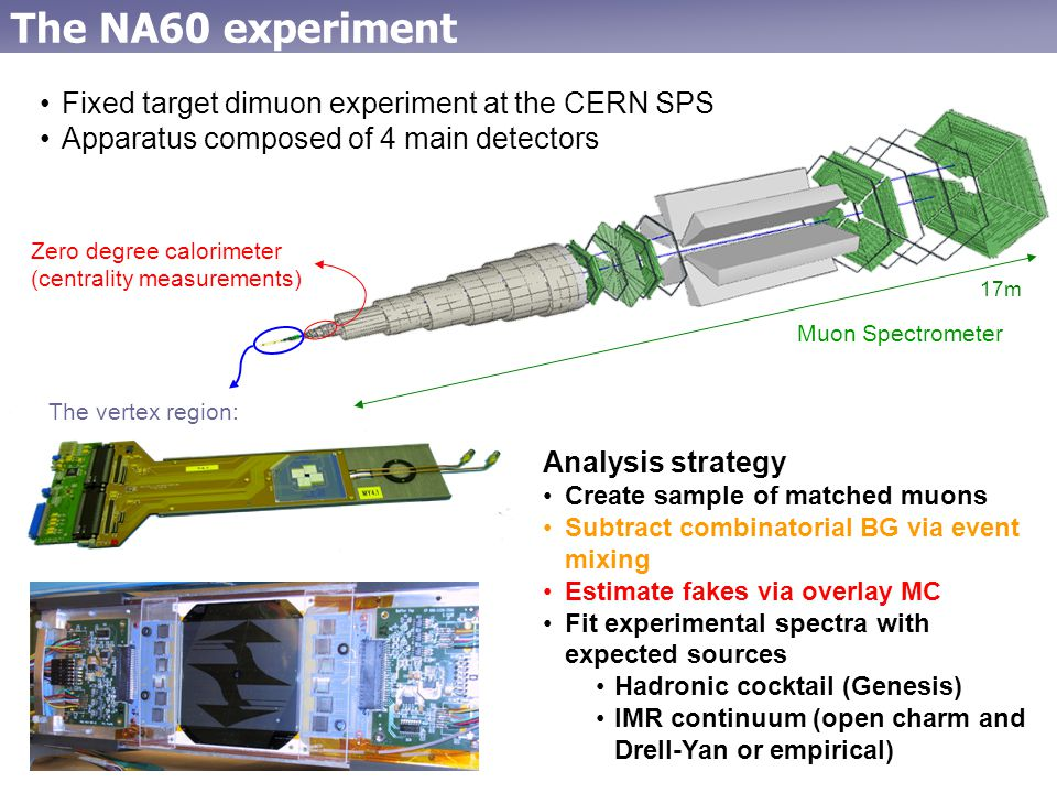 17m The vertex region: The NA60 experiment Fixed target dimuon experiment at the CERN SPS Apparatus composed of 4 main detectors Zero degree calorimeter (centrality measurements) Muon Spectrometer Analysis strategy Create sample of matched muons Subtract combinatorial BG via event mixing Estimate fakes via overlay MC Fit experimental spectra with expected sources Hadronic cocktail (Genesis) IMR continuum (open charm and Drell-Yan or empirical)