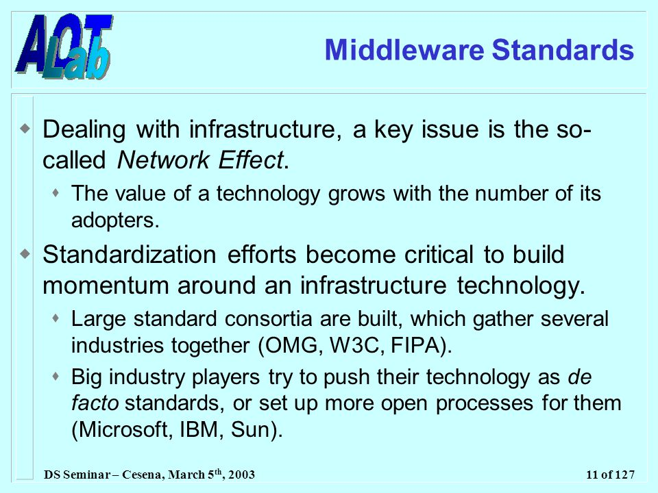 DS Seminar – Cesena, March 5 th, 200311 of 127 Middleware Standards  Dealing with infrastructure, a key issue is the so- called Network Effect.