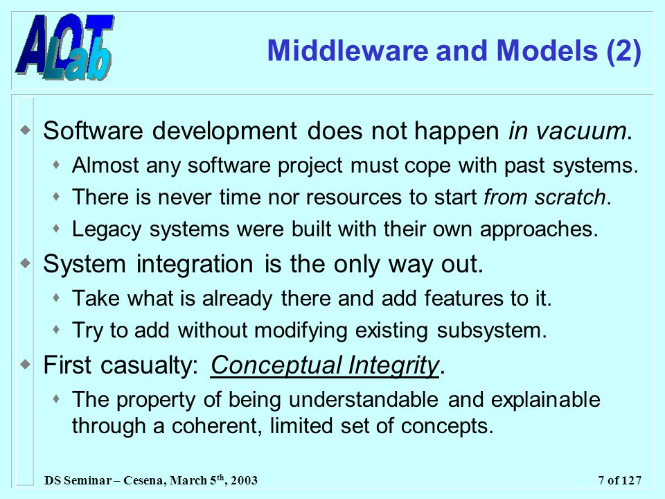 DS Seminar – Cesena, March 5 th, 20037 of 127 Middleware and Models (2)  Software development does not happen in vacuum.