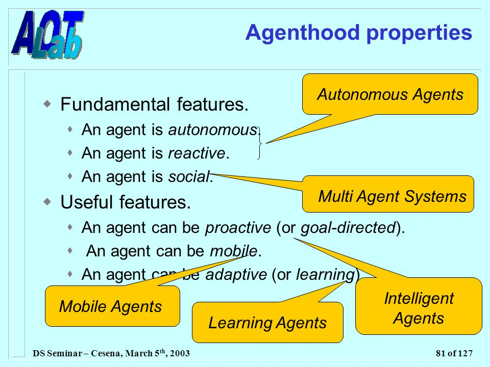DS Seminar – Cesena, March 5 th, 200381 of 127 Agenthood properties  Fundamental features.