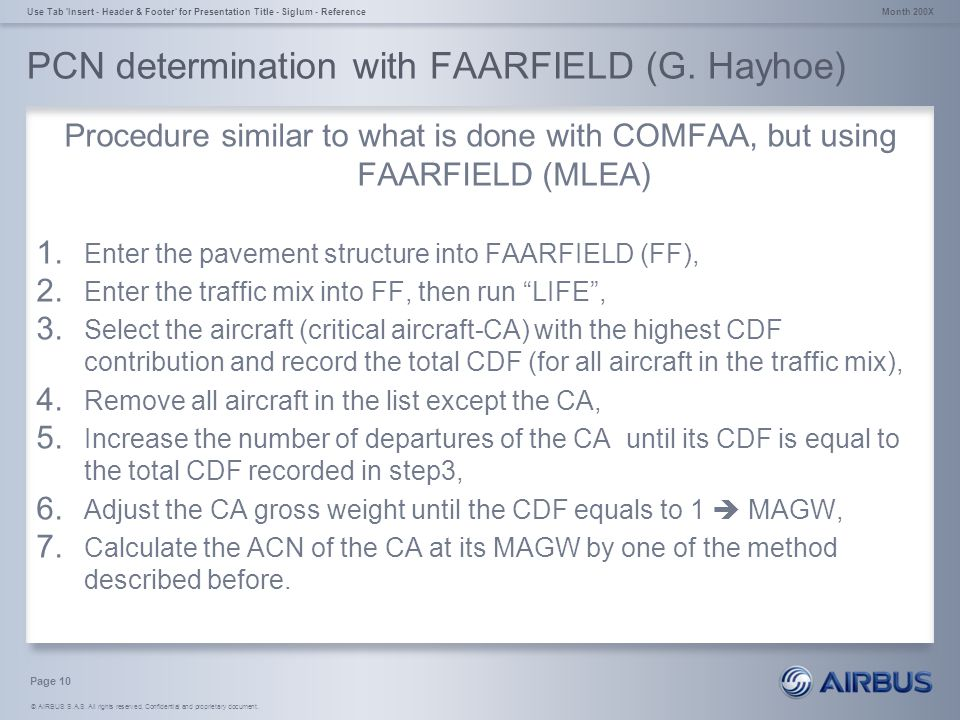 © AIRBUS S.A.S. All rights reserved. Confidential and proprietary document. PCN determination with FAARFIELD (G. Hayhoe) Procedure similar to what is