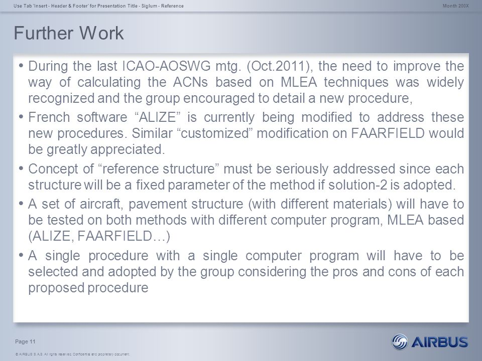 © AIRBUS S.A.S. All rights reserved. Confidential and proprietary document. Further Work During the last ICAO-AOSWG mtg. (Oct.2011), the need to impro
