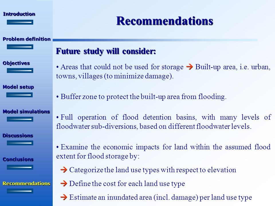 Recommendations Future study will consider:  Areas that could not be used for storage  Built-up area, i.e.