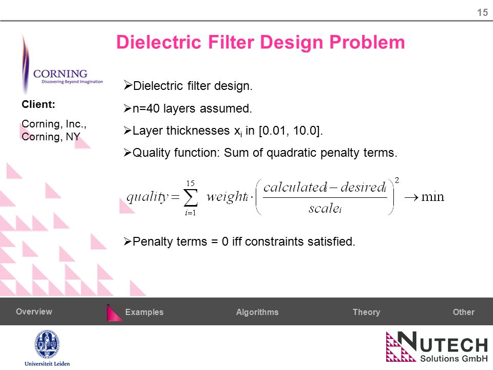 15 AlgorithmsTheoryExamples Overview Other  Dielectric filter design.  n=40 layers assumed.  Layer thicknesses x i in [0.01, 10.0].  Quality funct
