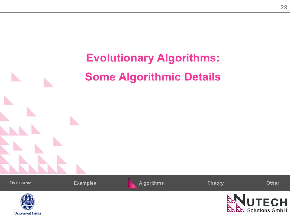 28 AlgorithmsTheoryExamples Overview Other Evolutionary Algorithms: Some Algorithmic Details