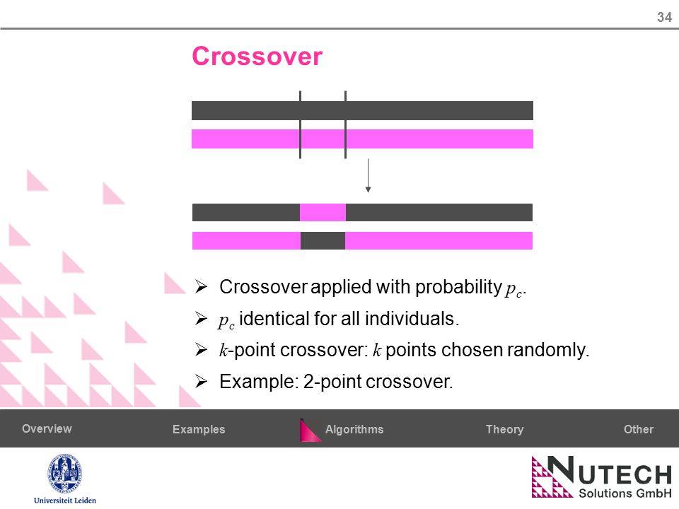 34 AlgorithmsTheoryExamples Overview Other Crossover  Crossover applied with probability p c.  p c identical for all individuals.  k -point crossov