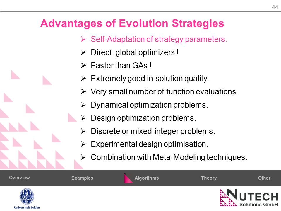 44 AlgorithmsTheoryExamples Overview Other Advantages of Evolution Strategies  Self-Adaptation of strategy parameters.  Direct, global optimizers !