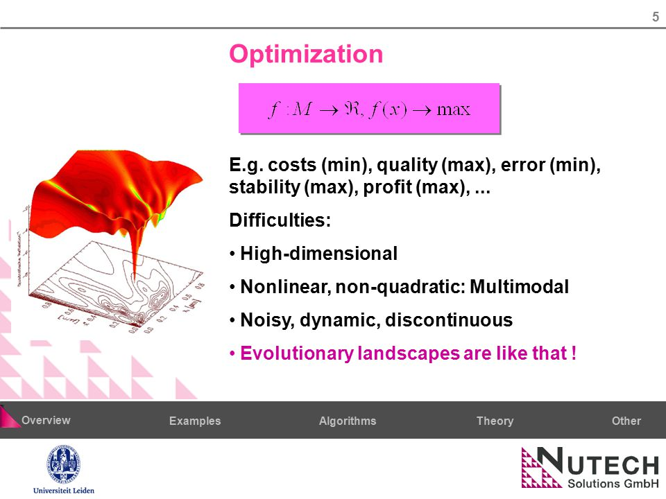 5 AlgorithmsTheoryExamples Overview Other Optimization E.g. costs (min), quality (max), error (min), stability (max), profit (max),... Difficulties: H