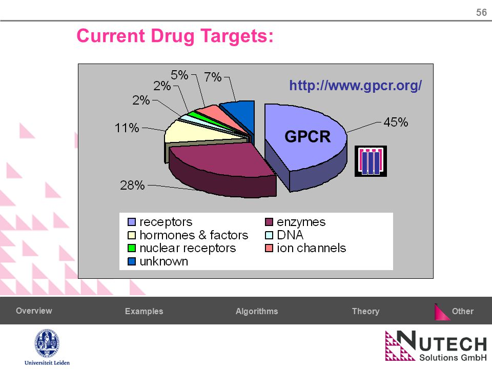 56 AlgorithmsTheoryExamples Overview Other Current Drug Targets: GPCR http://www.gpcr.org/