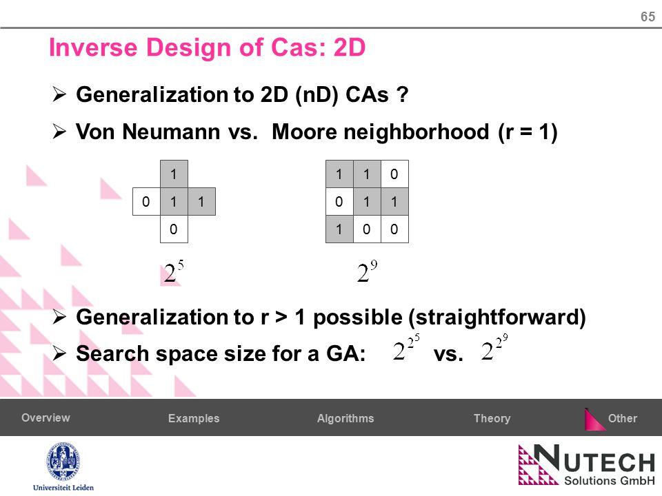 65 AlgorithmsTheoryExamples Overview Other Inverse Design of Cas: 2D  Generalization to 2D (nD) CAs ?  Von Neumann vs. Moore neighborhood (r = 1) 