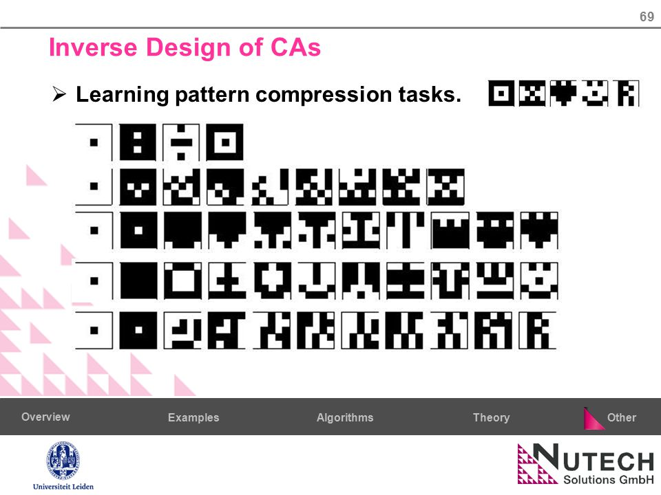 69 AlgorithmsTheoryExamples Overview Other Inverse Design of CAs  Learning pattern compression tasks.