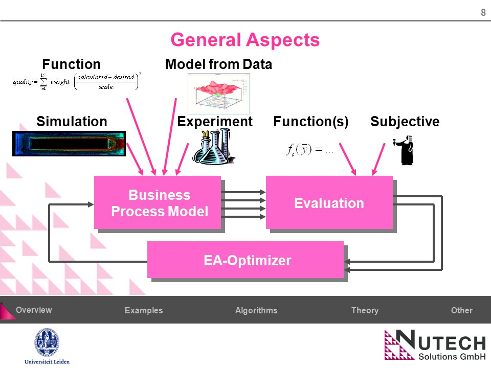 8 AlgorithmsTheoryExamples Overview Other General Aspects Evaluation EA-OptimizerBusiness Process Model Simulation FunctionModel from Data ExperimentS