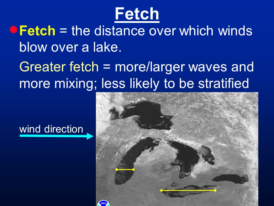 Fetch  Fetch = the distance over which winds blow over a lake.
