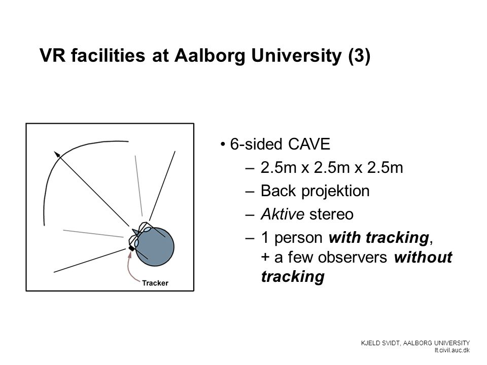 KJELD SVIDT, AALBORG UNIVERSITY It.civil.auc.dk VR facilities at Aalborg University (3) 6-sided CAVE –2.5m x 2.5m x 2.5m –Back projektion –Aktive stereo –1 person with tracking, + a few observers without tracking