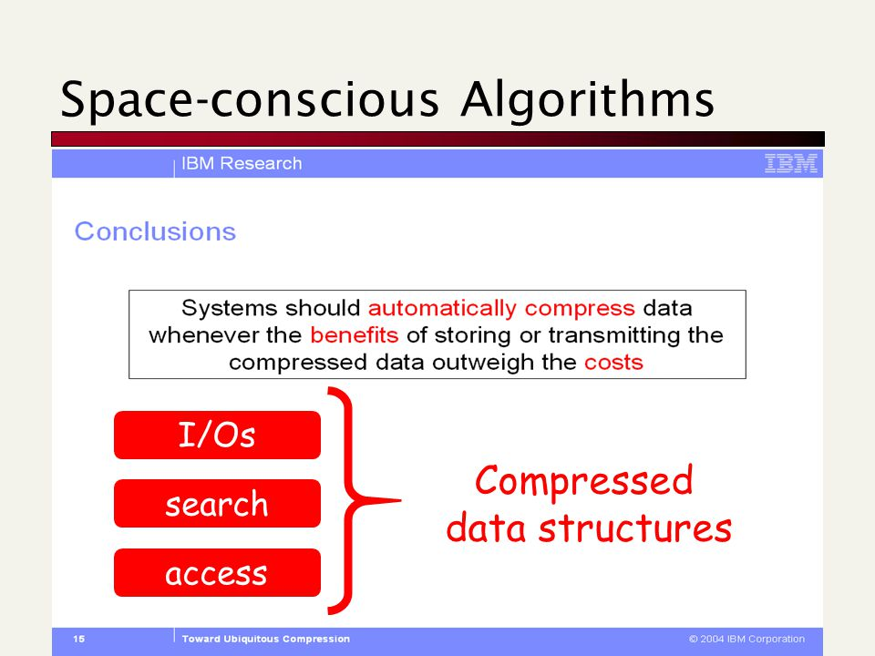 Space-conscious Algorithms Compressed data structures I/Os search access