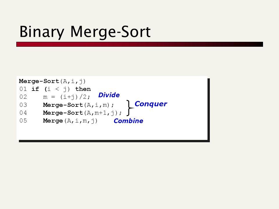 Binary Merge-Sort Merge-Sort(A,i,j) 01 if (i < j) then 02 m = (i+j)/2; 03 Merge-Sort(A,i,m); 04 Merge-Sort(A,m+1,j); 05 Merge(A,i,m,j) Merge-Sort(A,i,j) 01 if (i < j) then 02 m = (i+j)/2; 03 Merge-Sort(A,i,m); 04 Merge-Sort(A,m+1,j); 05 Merge(A,i,m,j) Divide Conquer Combine