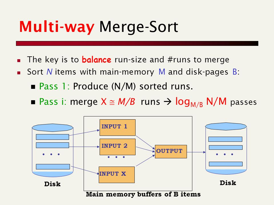 Multi-way Merge-Sort The key is to balance run-size and #runs to merge Sort N items with main-memory M and disk-pages B: Pass 1: Produce (N/M) sorted