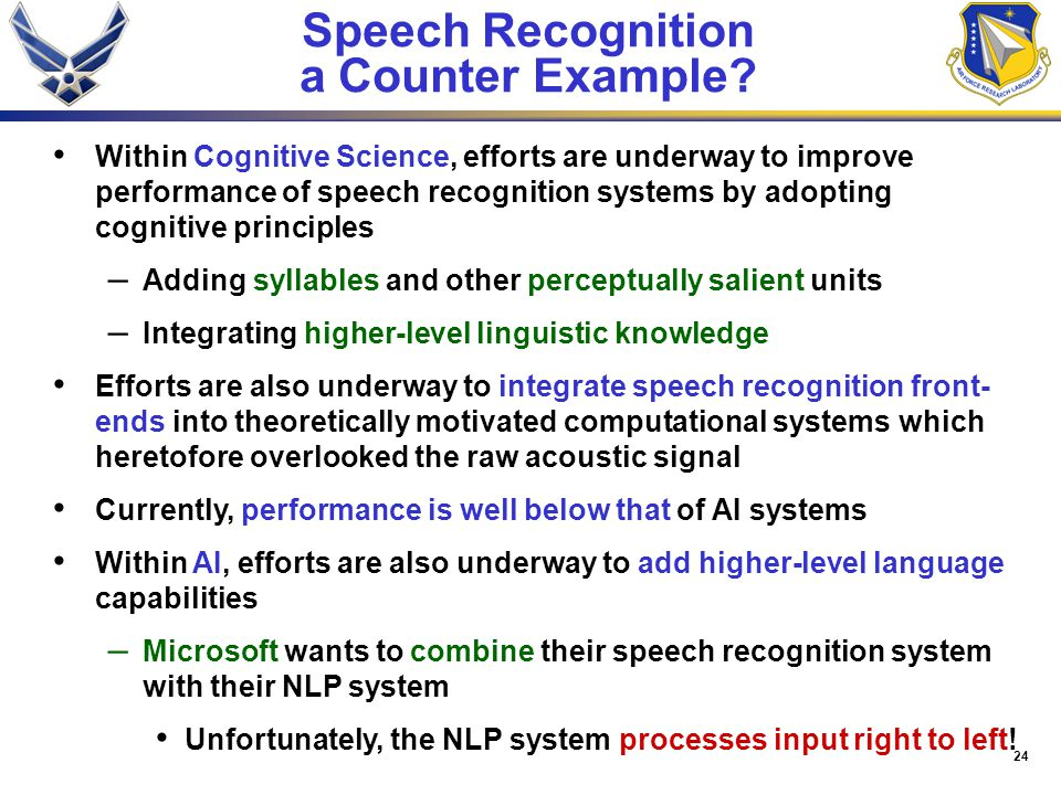 24 Speech Recognition a Counter Example.