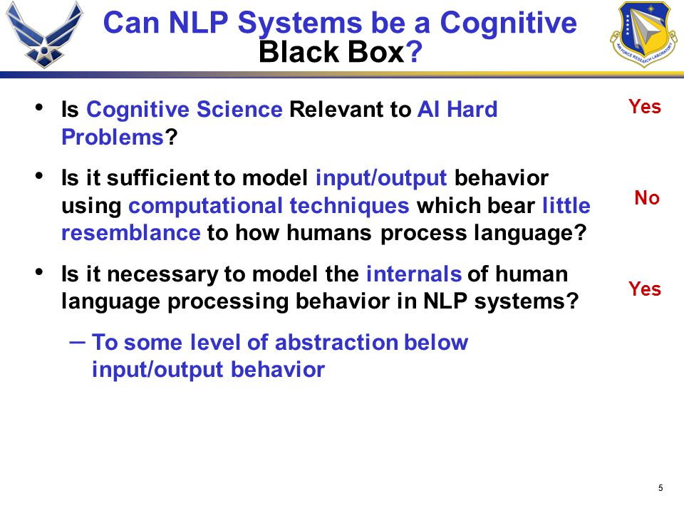 5 Can NLP Systems be a Cognitive Black Box? Yes No Yes Is Cognitive Science Relevant to AI Hard Problems? Is it sufficient to model input/output behav