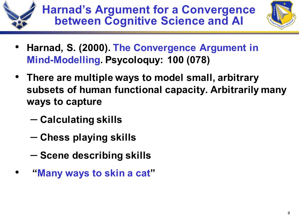 9 Harnad's Argument for a Convergence between Cognitive Science and AI Harnad, S.
