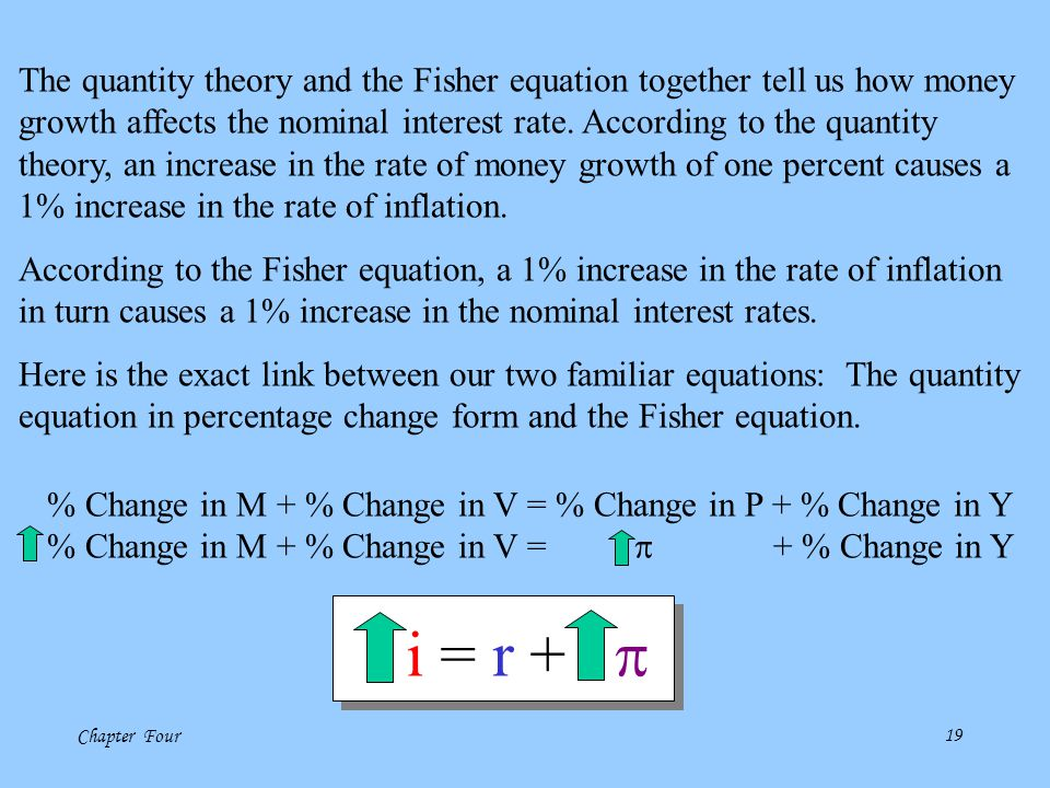 Chapter Four18 The Fisher Equation illuminates the distinction between the real and nominal rate of interest. Fisher Equation: i = r +  Actual (Marke
