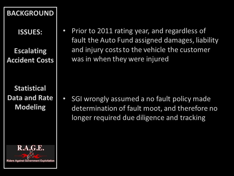 Prior to 2011 rating year, and regardless of fault the Auto Fund assigned damages, liability and injury costs to the vehicle the customer was in when