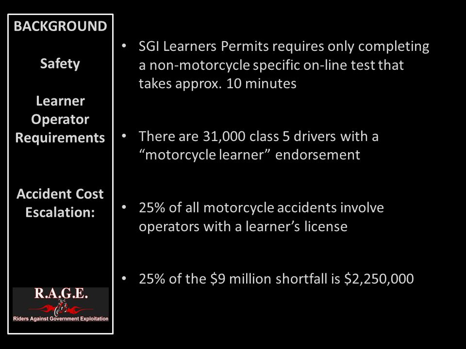 SGI Learners Permits requires only completing a non-motorcycle specific on-line test that takes approx. 10 minutes There are 31,000 class 5 drivers wi