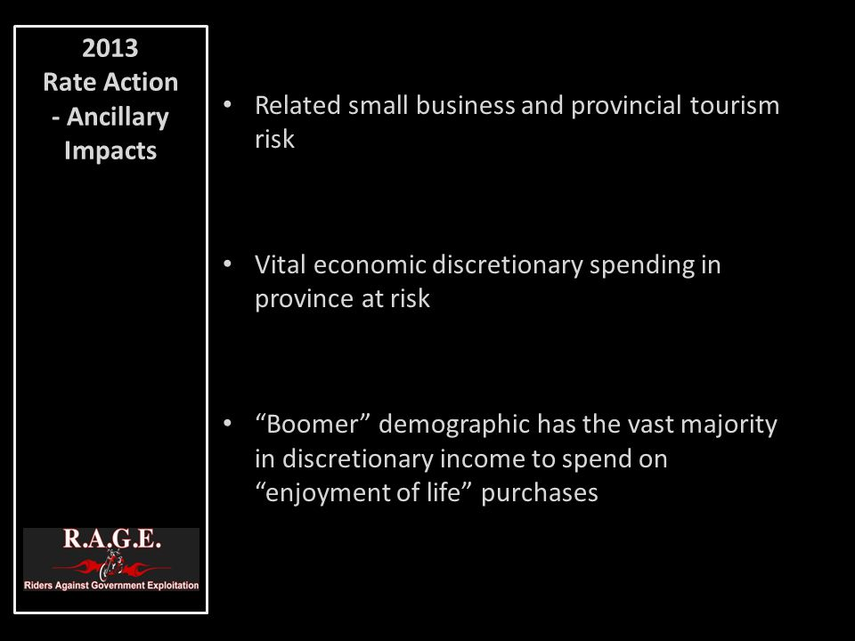 "Related small business and provincial tourism risk Vital economic discretionary spending in province at risk ""Boomer"" demographic has the vast majorit"