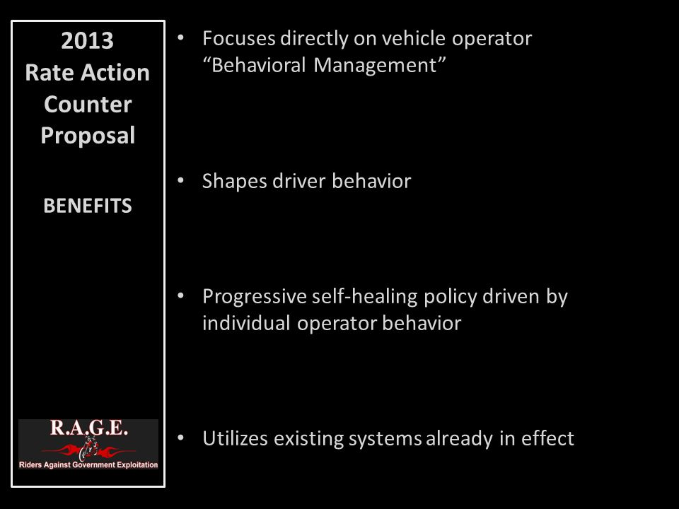 "Focuses directly on vehicle operator ""Behavioral Management"" Shapes driver behavior Progressive self-healing policy driven by individual operator beha"
