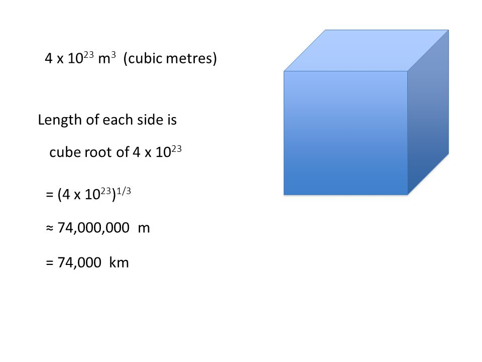 4 x 10 23 m 3 (cubic metres) Length of each side is cube root of 4 x 10 23 = (4 x 10 23 ) 1/3 ≈ 74,000,000 m = 74,000 km