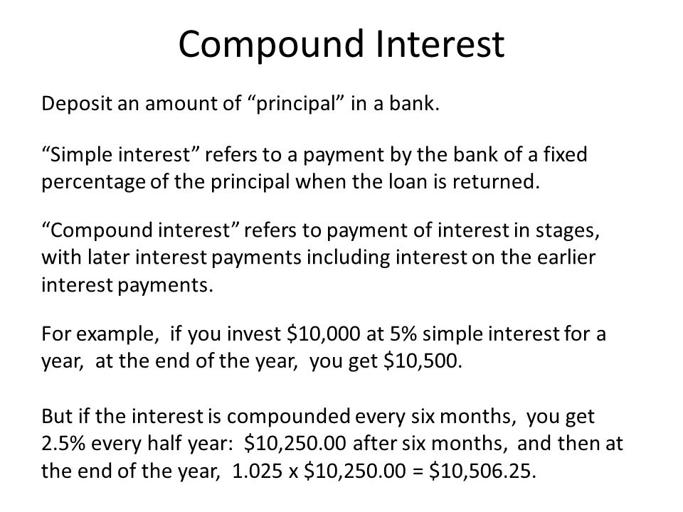 Compound Interest Deposit an amount of principal in a bank.