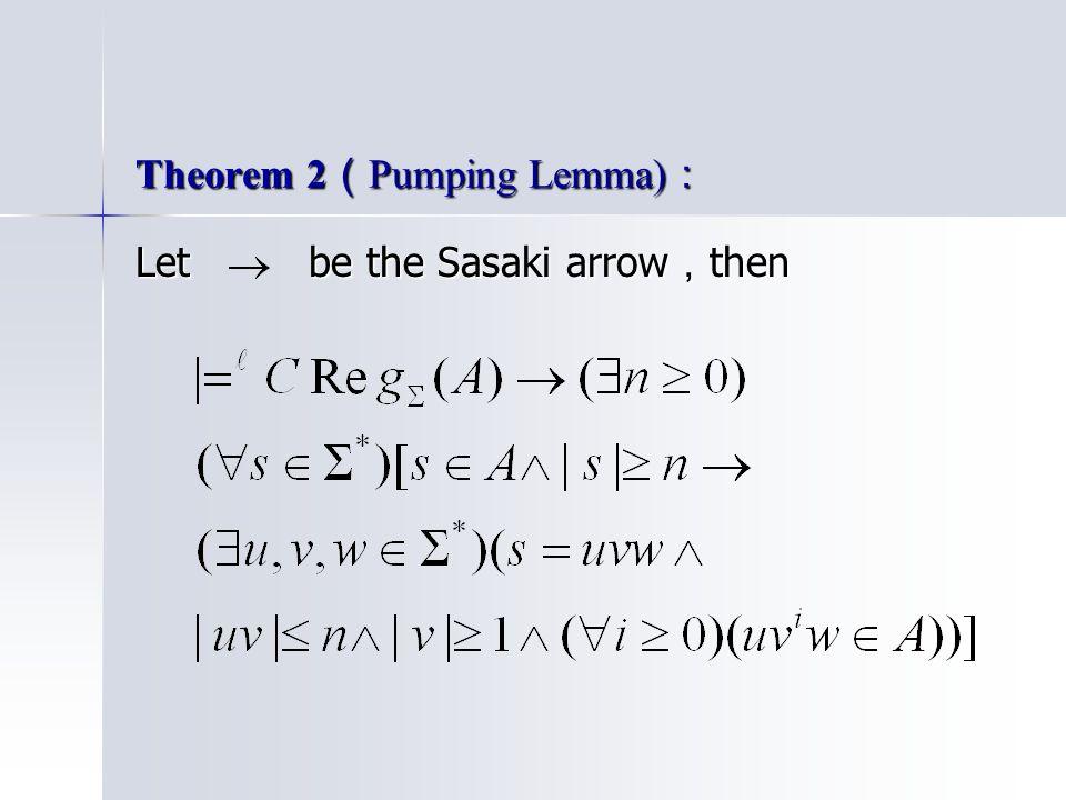 Theorem 2 ( Pumping Lemma) : Let be the Sasaki arrow , then