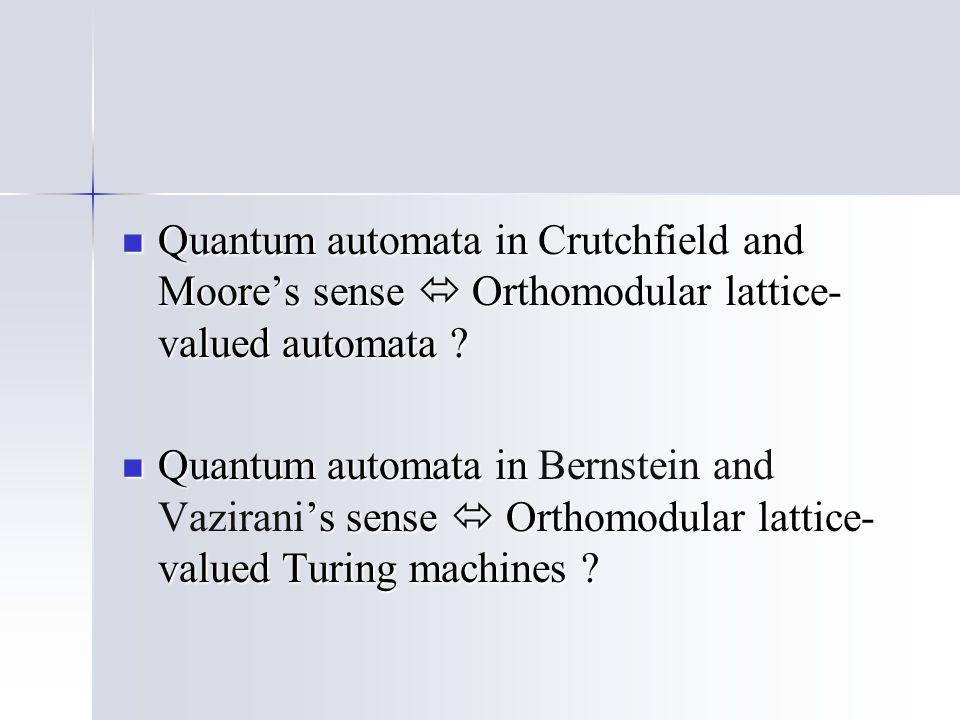 Quantum automata in Crutchfield and Moore's sense  Orthomodular lattice- valued automata ? Quantum automata in Crutchfield and Moore's sense  Orthom