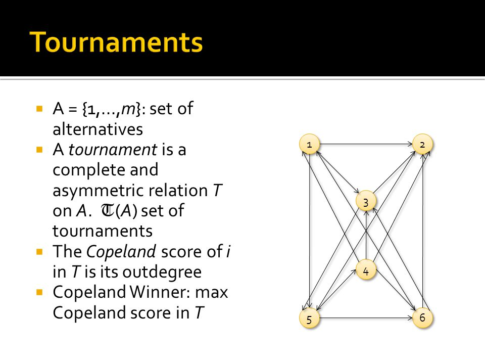  A = {1,...,m}: set of alternatives  A tournament is a complete and asymmetric relation T on A.