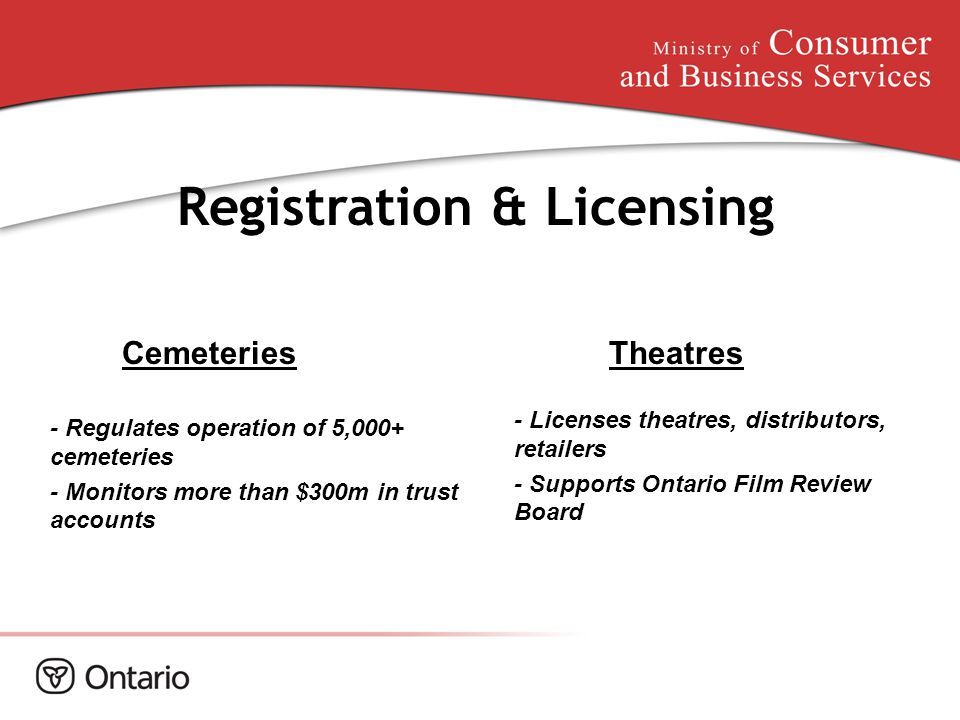 Cemeteries Registration & Licensing - Regulates operation of 5,000+ cemeteries - Monitors more than $300m in trust accounts - Licenses theatres, distr