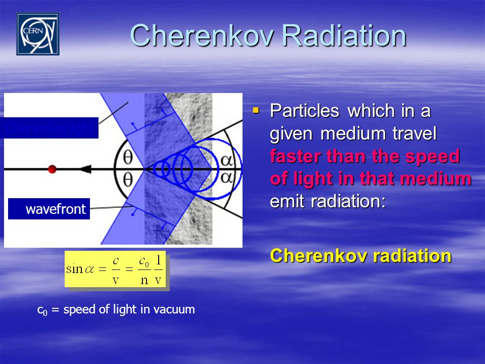 Cherenkov Radiation  Particles which in a given medium travel faster than the speed of light in that medium emit radiation: Cherenkov radiation c 0 = speed of light in vacuum Cherenkovlight wavefront