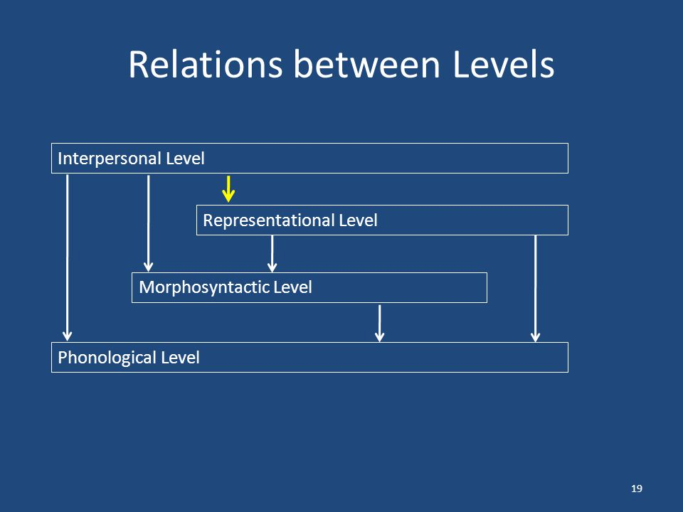 Relations between Levels 19 Interpersonal Level Representational Level Morphosyntactic Level Phonological Level