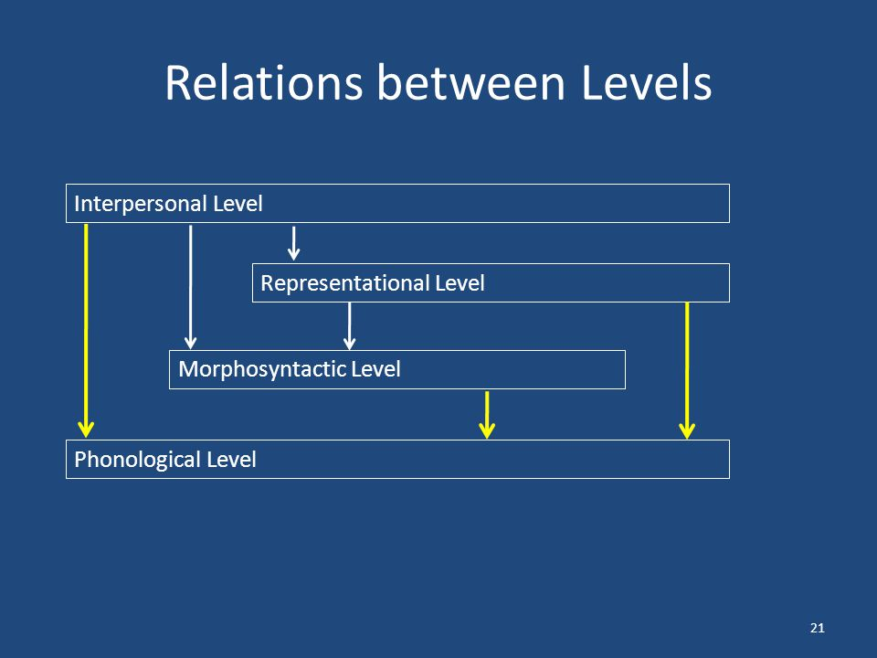 Relations between Levels 21 Interpersonal Level Representational Level Morphosyntactic Level Phonological Level